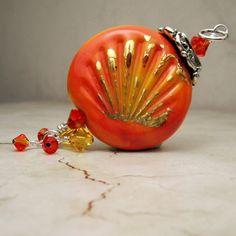Lampwork Glass Bead Pendant  Bright Orange by StoneDesignsbySheila, $40.00