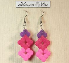 Kissing Squares Pink and Purple Perler Earrings by blossomfire