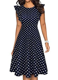 ihot Women's Vintage Ruffle Floral Flared A Line Swing Casual Cocktail Party Dresses with Pockets Casual Party Dresses, Fall Dresses, Cute Dresses, Beautiful Dresses, Women's Dresses, Vintage Tea Dress, Vintage Dresses, Shopping Outfits, Fit And Flare Cocktail Dress