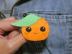Broche clementine, clementine, broche kawaii, broche orange, bijou orange : Broche par i-believe-i-can-fil