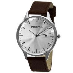 Prisma Dome Watch. Stainless steel case and Italian leather strap.
