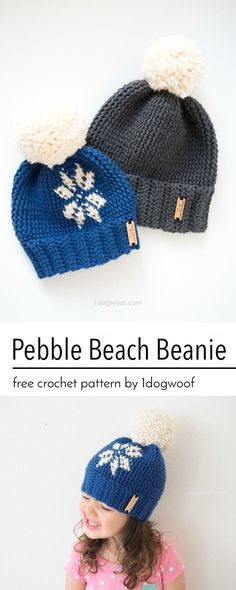 Free crochet pattern for the Pebble Beach Beanie by http://1dogwoof.com