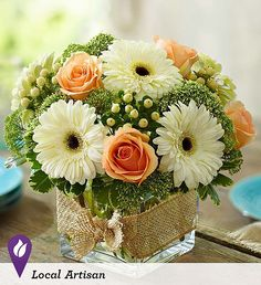 """Modern Rose and Gerbera Daisy Bouquet """"This design stirs up feelings of peace and tranquility."""" The arrangement features roses, gerbera daisies, hypericum and a garden variety of greenery in a cube va Más Beautiful Flower Arrangements, Wedding Flower Arrangements, Floral Centerpieces, Wedding Centerpieces, Floral Arrangements, Wedding Flowers, Rose Wedding, Centerpiece Ideas, Fresh Flower Arrangement"""