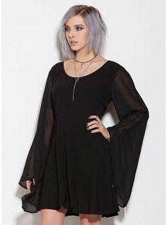 Mesh Bell Sleeve Dress, BLACK