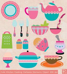 Cute Kitchen & Cooking Elements Clipart Digital Paper pack - scrapbook, tags,invitation cards, stationary -cpA249- BUY 1 GET 1 FREE