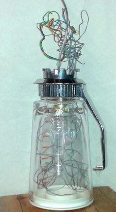 """By Benestart - mental health workshop: """"Turmix"""" lamp. Found materials / Llum """"Turmix"""" / Lámpara Light Installation, Mason Jar Lamp, Mental Health, Workshop, Water Bottle, Table Lamp, Lights, Space, Floor Space"""