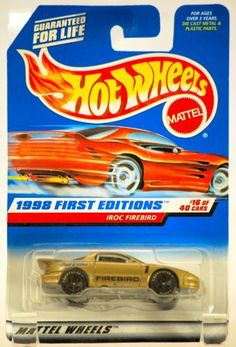Mattel Hot Wheels 1998 First Editions 1:64 Scale Gold IROC Pontiac Firebird Die Cast Car #016 by Mattel. $5.99. IROC Firebird / Pontiac - True Value #1 Gold Car. New - Limited Edition - Collectible. 1998 First Editions - #16 of 40 Cars - Red Card Chaser Car. 1:64 Scale : Die Cast Metal - Out of Production. 1998 - Mattel / Hot Wheels - Collector #653. Mattel Hot Wheels 1998 First Editions 1:64 Scale Gold IROC Pontiac Firebird Die Cast Car #016