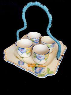 �� Rare Crown Ducal Egg Cups & Serving Plate Rosemary Design 2633 Art Deco Era