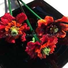 Poppy day. Author's handmade. colored glass. Lampwork. ArtStudio MalinoDesign