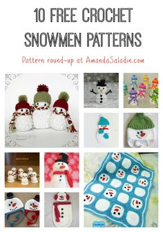 Looking for a crochet snowman pattern? Here are 10 free crochet snowmen patterns that will fit the bill - from hats to ornaments to baby items. Crochet Snowman, Crochet Christmas Ornaments, Christmas Crochet Patterns, Holiday Crochet, Crochet Bebe, Halloween Crochet, Christmas Knitting, Crochet Gifts, Cute Crochet