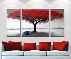 Beautiful red tree, 3 piece abstract canvas painting ... from Google Images
