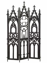 "Halloween Decoration Piece: This Gothic screen will make a great decor idea for any shabby chic or Gothic style decor. It's clean lines and antique black finish will top off any room. Also makes for a great party decoration for Halloween.  Height: 71""  Material: Metal  Color: Black"