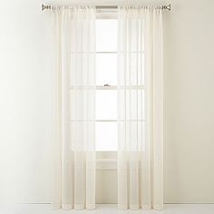 jcp   Royal Velvet® Crushed Voile Rod-Pocket Sheer Curtain Panel