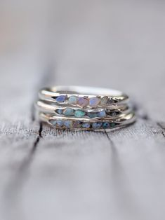 Fossil Opal Ring with Hidden Gems - Gardens of the Sun Jewelry