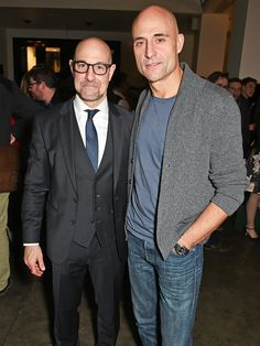Two fantastic actors!  Cuties!!!!!!   Star Tracks: Tuesday, February 17, 2015   BEST BUDS   Stanley Tucci and his lookalike pal Mark Strong attend the after-party for Strong's play A View from the Bridge at The National Café on Monday in London.