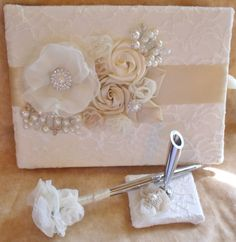 Champagne and Ivory Wedding Guest Book and Pen Set with Flowers and Bead Work-Custom Made in ANY Color Combination on Etsy, $60.00