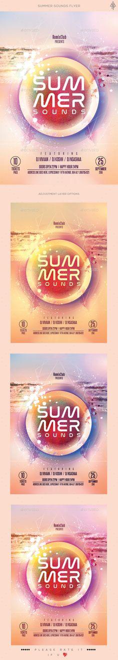 Summer Sounds Flyer Template PSD. Download here: http://graphicriver.net/item/summer-sounds-flyer/16613803?ref=ksioks