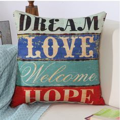 Fashion Home Cushion Without Inner Letter Printed Polyester Decor Sofa Car Seat Decorative Throw Pillow Housse De Coussin Linen Pillows, Cushions On Sofa, Decorative Throw Pillows, Throw Pillow Cases, Pillow Covers, Cushion Covers, Cushion Pillow, Home Sofa, Christmas Pillow