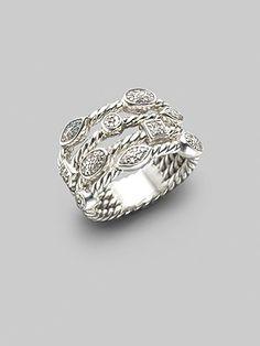 David Yurman - Diamond & Sterling Silver Open Cable Ring - Saks.com