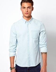 ASOS Denim Shirt in Long Sleeve with Bleach Wash