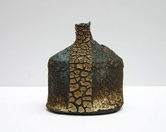 Ceramics by Jane Wheeler at Studiopottery.co.uk - Black accretion pathway bottle, 13cm x 11cm