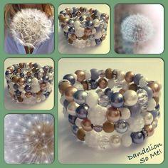 Dandelion! Moderne, mooie zelfgemaakte armbanden, glas parels, glas kralen , Memory wire, http://some-accessoires.nl