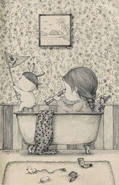 A Girl and Her Pet Rabbit: Drawings by Coniglio   Faith is Torment   Art and Design Blog