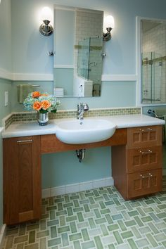 Traditional Bathroom by Design Set Match Universal designed bathroom sink accessible with a wheelchair