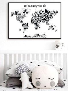 Mapa de mundo animal Print, monocromo vivero mundo mapa, Oh los lugares vas, niños mundo mapa Poster, decoración dormitorio escandinavo blanco negro
