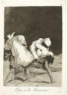 """El título de este aguafuerte es: """"¡Que se la llevaron!"""". Es ungrabadode la serieLos Caprichos. Está numerado con el número 8 en la serie de 80 estampas. Se publicó en 1799. Explicación de esta estampa del manuscrito del Museo del Prado:La mujer que no sabe guardar es del primero que la pilla y cuando no tiene remedio se admiran de que se la llevaron. Un eclesiástico que tiene un amor ilicito, busca un gañán que le ayuda al rapto de su querida."""