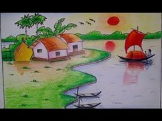How To Draw Village Scenery Step By Step Easy Drawing Tutorial For