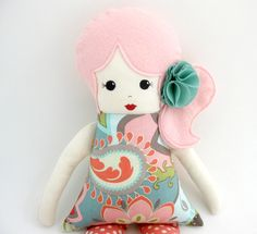 Cloth Rag Doll with Pink Hair and  fabric flower in hair