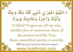 """""""#Allah Forgive me all my #sins, whether few or numerous, those of the #present and the Past, those committed openly or #secretly."""" """"Being born into Islam , is the biggest blessing of Allah""""  www.muslimzon.com (#usa online #Islamic books #store)"""