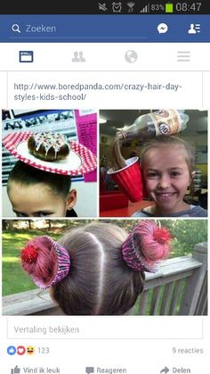 Great ideas for crazy hair day at school! Love the soda pop idea! Great ideas for crazy hair day at Crazy Hat Day, Crazy Hair Day At School, Crazy Hats, Little Girl Hairstyles, Cute Hairstyles, Halloween Hairstyles, Costume Bonbon, Wacky Hair Days, Wedding Wine Glasses