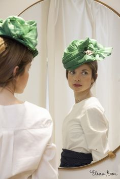 Love this jade green sculpted sinamay and silk turban by Rita Von #millinery