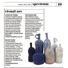 You can find #AlMunro's crochet bottles from …a piece of string… in today's issue of SMH! Next week is the last week to see this remarkable exhibition of fibre-based artworks.