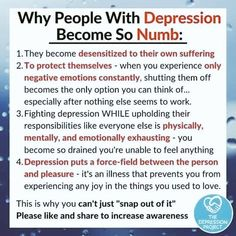 Suffering from Depression is a mental illness caused by too much resentment, feeling miserable and sadness, isolated from community and friends. Mental And Emotional Health, Mental Health Matters, Mental Health Quotes, Emotional Detachment, Health Fair, Emotional Healing, Health Advice, Mental Illness Awareness, Depression Awareness