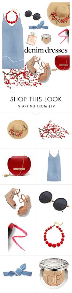 """""""Denim Dresses"""" by michaelasams ❤ liked on Polyvore featuring Brewster Home Fashions, Angela Valentine Handbags, M.i.h Jeans, Schutz, Lapcos, Kenneth Jay Lane, Colette Malouf and Christian Dior"""