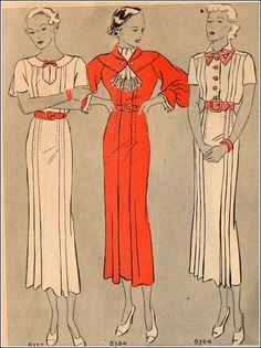 Mc Call 8377, 8384 and 8394 | ca. 1935 Misses' Dress patterns