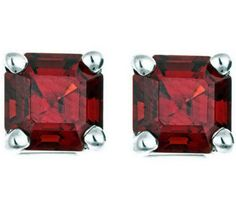 These elegant, prong-set Asscher-cut stud earrings are a must-have for every woman's accessories collection. Different Shades Of Red, Just Shop, Asscher Cut, Garnet Jewelry, My Birthstone, Color Change, Birthstones, Women Accessories, Stud Earrings