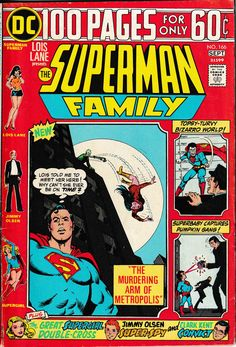 Superman Family 166 1974 fn issue Giant Size 100 page Giant Supergirl Superman And Lois Lane, Superman Family, Comic Book Covers, Comic Books, Dc Comics Collection, Jimmy Olsen, Lex Luthor, Bronze Age, Marvel Dc Comics