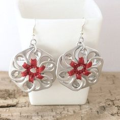 can tab crafts | pop tab flower earrings red crochet by ... | Pop Can Tab Crafts
