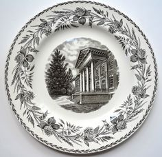 Wedgwood College Series Black Transferware Plate Cedarcrest Administration Pennsylvania Floral Hops Border