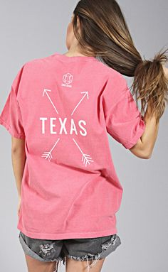 charlie southern: state arrow comfort colors tee - texas [watermelon]