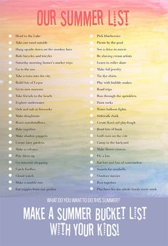 Before it passes you by, make a summer bucket list with your kids! Lots of great ideas on childhood must haves.