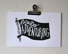 linocut print // let's go adventuring // by BlackWoodPrintShop