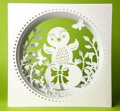 Osterkarte geschnitten mit meinem Plotter (Cameo) - Plotterdatei Tunnelkarte Küken auf Ei von MiriamKreativ.de