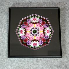 A Framed Rose Sacred Geometry Wall Décor Mandala Wall Art titled Petals Of Poise.  A mesmerizing 12x12 double matted Rose sacred geometry mandala kaleidoscope photograph. Outer mat is black and inner mat is purple to complement and enhance the colors in the design. The frame is sturdy 12 inch by 12 inch black metal. There is a wire hanging sy...