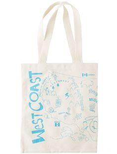 east coast - west coast tote bag, welcome gift bags.