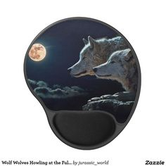 Wolf Wolves Howling at the Full Moon Gel Mouse Pad